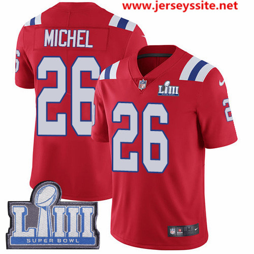 Nike Patriots #26 Sony Michel Red Alternate Super Bowl LIII Bound Men's Stitched NFL Vapor Untouchable Limited Jersey