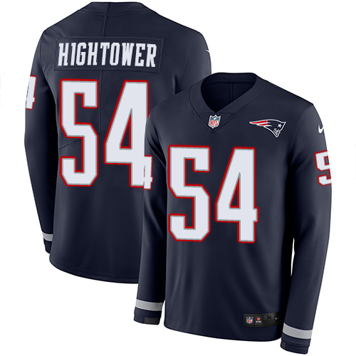 Nike Patriots #54 Dont'a Hightower Navy Blue Team Color Men's Stitched NFL Limited Therma Long Sleeve Jersey