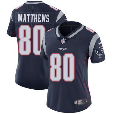 Nike Patriots #80 Jordan Matthews Navy Blue Team Color Women's Stitched NFL Vapor Untouchable Limited Jersey