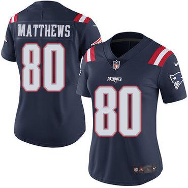 Nike Patriots #80 Jordan Matthews Navy Blue Women's Stitched NFL Limited Rush Jersey