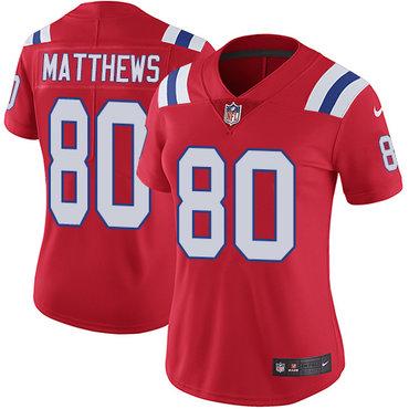 Nike Patriots #80 Jordan Matthews Red Alternate Women's Stitched NFL Vapor Untouchable Limited Jersey