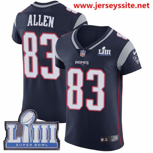Nike Patriots #83 Dwayne Allen Navy Blue Team Color Super Bowl LIII Bound Men's Stitched NFL Vapor Untouchable Elite Jersey