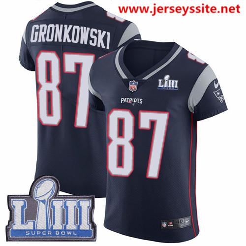 Nike Patriots #87 Rob Gronkowski Navy Blue Team Color Super Bowl LIII Bound Men's Stitched NFL Vapor Untouchable Elite Jersey