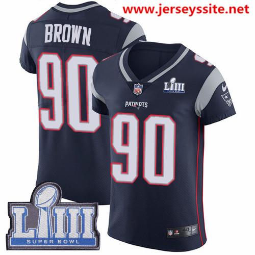 Nike Patriots #90 Malcom Brown Navy Blue Team Color Super Bowl LIII Bound Men's Stitched NFL Vapor Untouchable Elite Jersey
