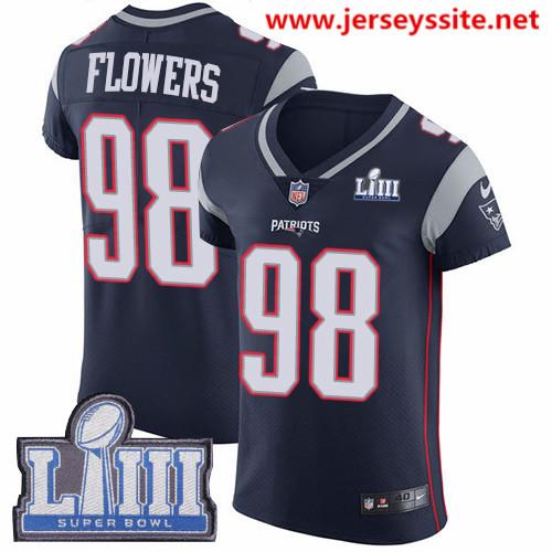 Nike Patriots #98 Trey Flowers Navy Blue Team Color Super Bowl LIII Bound Men's Stitched NFL Vapor Untouchable Elite Jersey