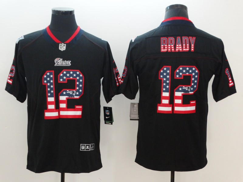Nike Patriots 12 Tom Brady Black USA Flag Fashion Color Rush Limited Jersey