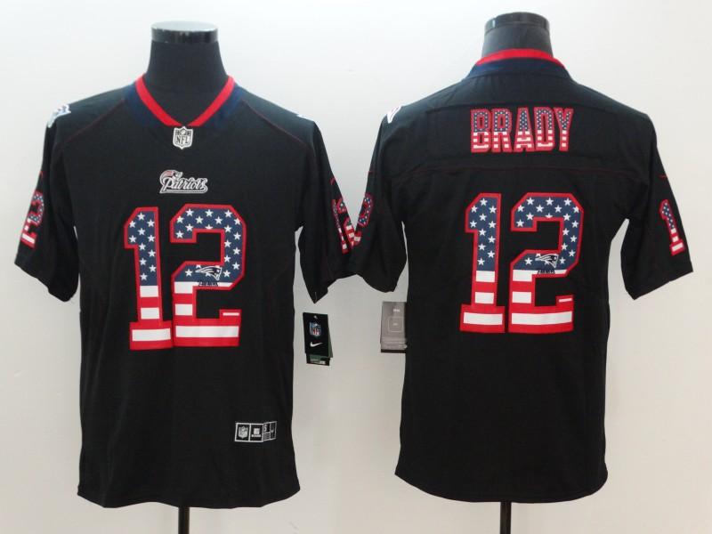 Nike Patriots 12 Tom Brady Black USA Flag Fashion Color Rush Limited Jersey