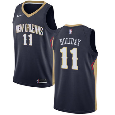 Nike Pelicans #11 Jrue Holiday Navy NBA Swingman Icon Edition Jersey