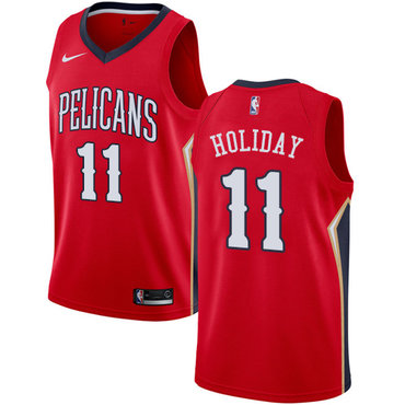 Nike Pelicans #11 Jrue Holiday Red NBA Swingman Statement Edition Jersey