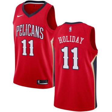 Nike Pelicans #11 Jrue Holiday Red NBA Swingman Statement Edition Jersey