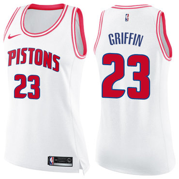 Nike Pistons #23 Blake Griffin White Pink Women's NBA Swingman Fashion Jersey