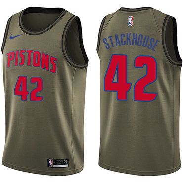 Nike Pistons #42 Jerry Stackhouse Green Salute to Service NBA Swingman Jersey