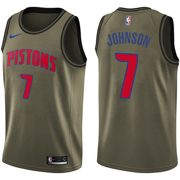Nike Pistons #7 Stanley Johnson Green Salute to Service NBA Swingman Jersey