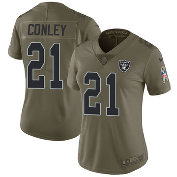 Nike Raiders #21 Gareon Conley Olive Women's Stitched NFL Limited 2017 Salute to Service Jersey