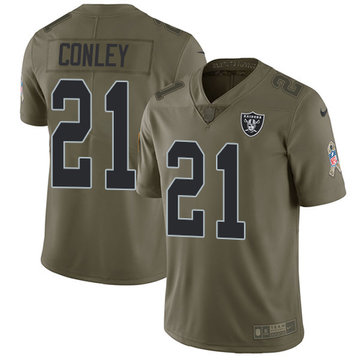 Nike Raiders #21 Gareon Conley Olive Youth Stitched NFL Limited 2017 Salute to Service Jersey