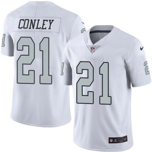 Nike Raiders #21 Gareon Conley White Men's Stitched NFL Limited Rush Jersey