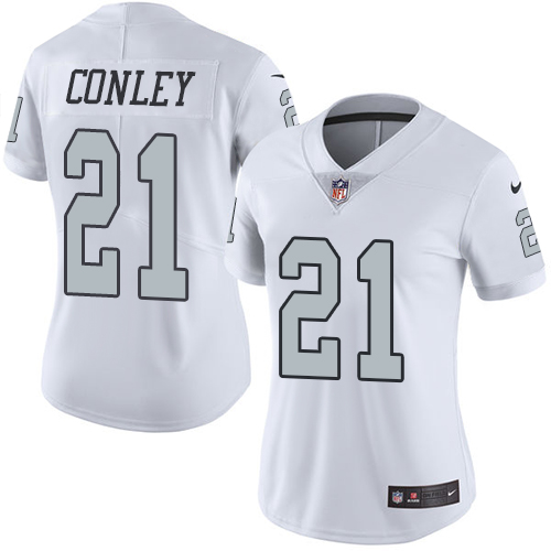 Nike Raiders #21 Gareon Conley White Women's Stitched NFL Limited Rush Jersey