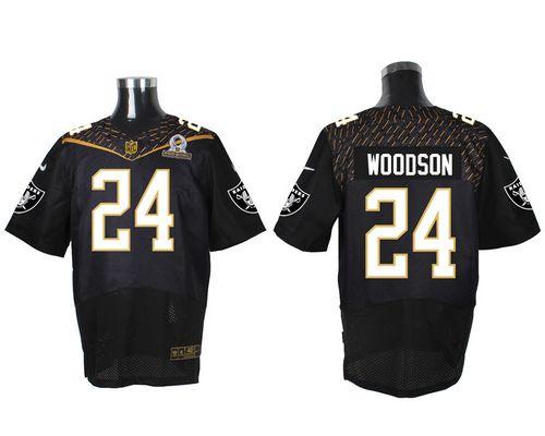 Nike Raiders #24 Charles Woodson Black 2016 Pro Bowl Men's Stitched NFL Elite Jersey