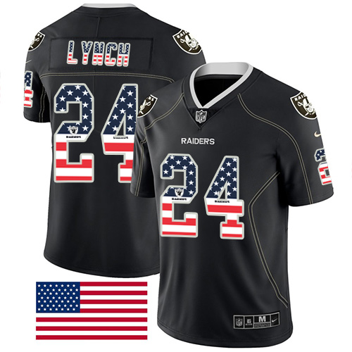 Nike Raiders #24 Marshawn Lynch Black Men's Stitched NFL Limited Rush USA Flag Jersey