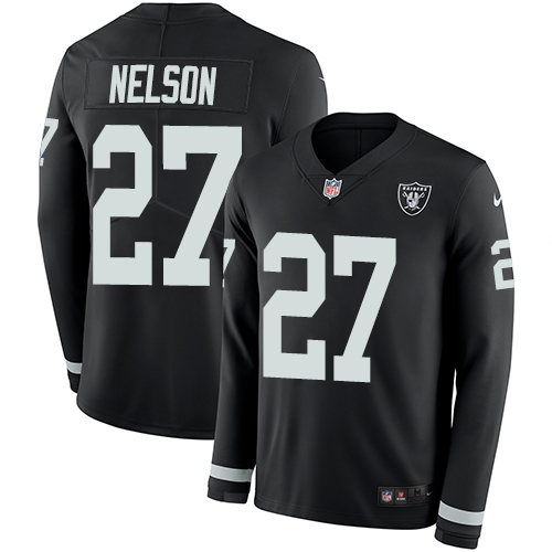 Nike Raiders #27 Reggie Nelson Black Team Color Men's Stitched NFL Limited Therma Long Sleeve Jersey