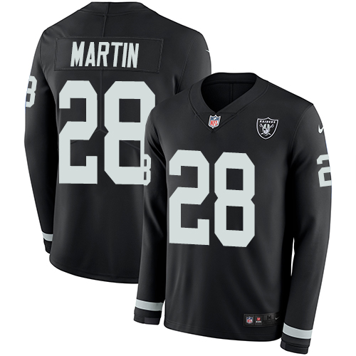 Nike Raiders #28 Doug Martin Black Team Color Men's Stitched NFL Limited Therma Long Sleeve Jersey