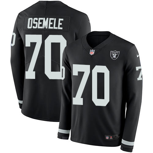 Nike Raiders #70 Kelechi Osemele Black Team Color Men's Stitched NFL Limited Therma Long Sleeve Jersey
