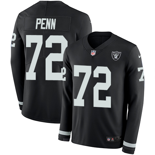 Nike Raiders #72 Donald Penn Black Team Color Men's Stitched NFL Limited Therma Long Sleeve Jersey