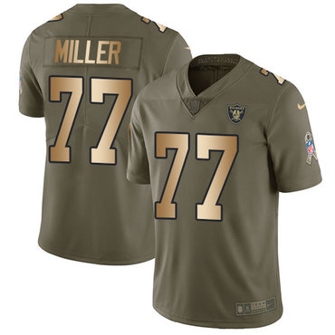 Nike Raiders #77 Kolton Miller Olive Gold Youth Stitched NFL Limited 2017 Salute to Service Jersey