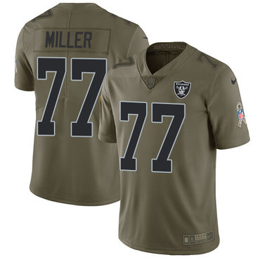 Nike Raiders #77 Kolton Miller Olive Youth Stitched NFL Limited 2017 Salute to Service Jersey