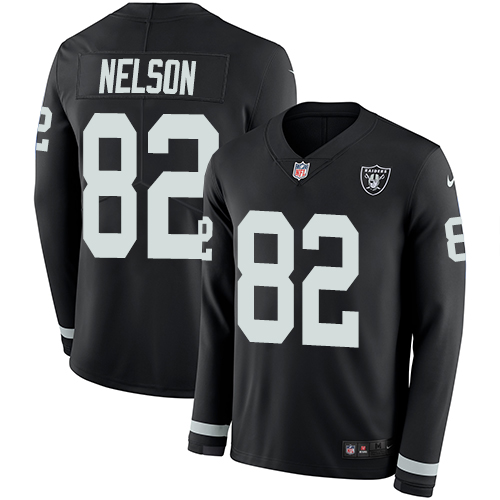 Nike Raiders #82 Jordy Nelson Black Team Color Men's Stitched NFL Limited Therma Long Sleeve Jersey