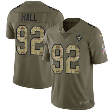 Nike Raiders #92 P.J. Hall Olive Camo Youth Stitched NFL Limited 2017 Salute to Service Jersey