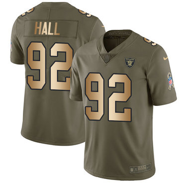 Nike Raiders #92 P.J. Hall Olive Gold Youth Stitched NFL Limited 2017 Salute to Service Jersey