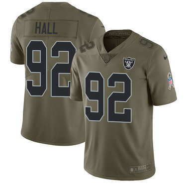 Nike Raiders #92 P.J. Hall Olive Youth Stitched NFL Limited 2017 Salute to Service Jersey