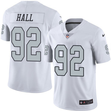 Nike Raiders #92 P.J. Hall White Youth Stitched NFL Limited Rush Jersey