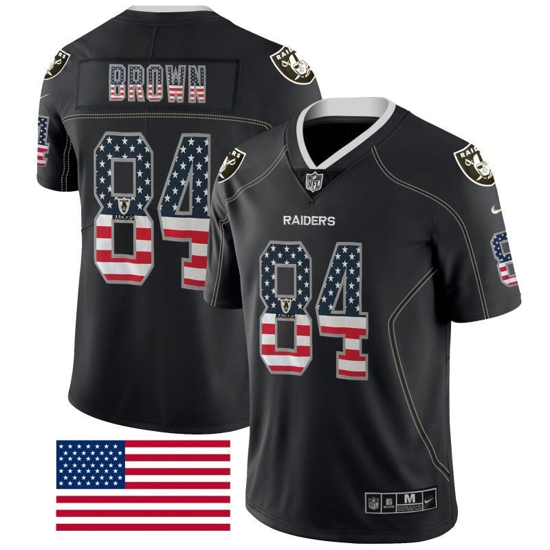 Nike Raiders 84 Antonio Brown Black USA Flag Fashion Limited Jersey