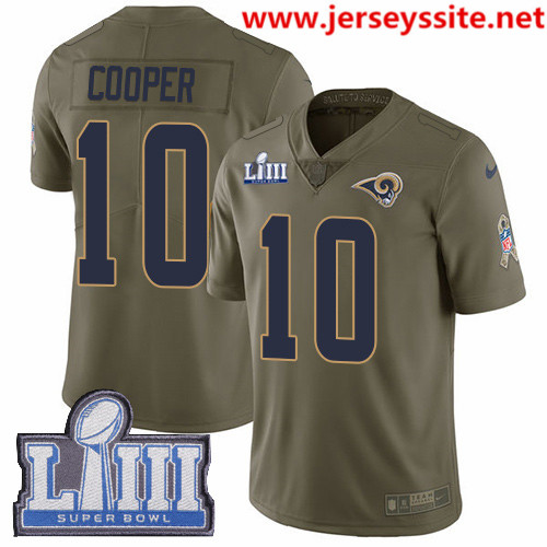 Nike Rams #10 Pharoh Cooper Olive Super Bowl LIII Bound Men's Stitched NFL Limited 2017 Salute To Service Jersey