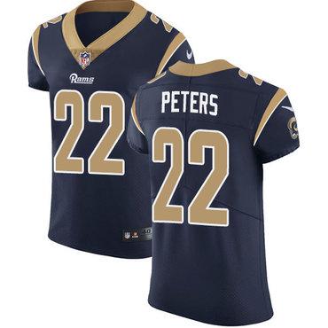 Nike Rams #22 Marcus Peters Navy Blue Team Color Men's Stitched NFL Vapor Untouchable Elite Jersey
