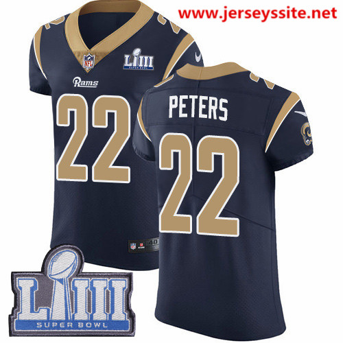 Nike Rams #22 Marcus Peters Navy Blue Team Color Super Bowl LIII Bound Men's Stitched NFL Vapor Untouchable Elite Jersey