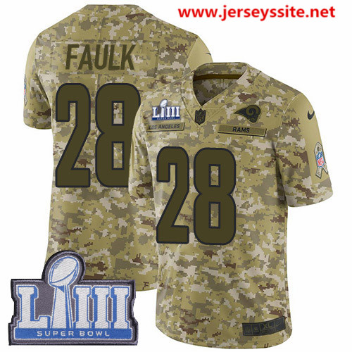 Nike Rams #28 Marshall Faulk Camo Super Bowl LIII Bound Men's Stitched NFL Limited 2018 Salute To Service Jersey