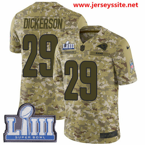 Nike Rams #29 Eric Dickerson Camo Super Bowl LIII Bound Men's Stitched NFL Limited 2018 Salute To Service Jersey