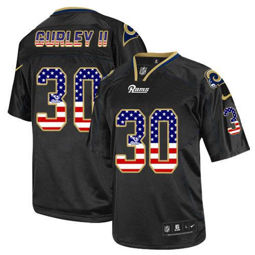 Nike Rams #30 Todd Gurley Black Men's Stitched NFL Elite USA Flag Fashion Jersey