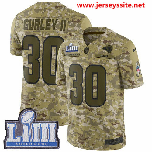 Nike Rams #30 Todd Gurley II Camo Super Bowl LIII Bound Men's Stitched NFL Limited 2018 Salute To Service Jersey