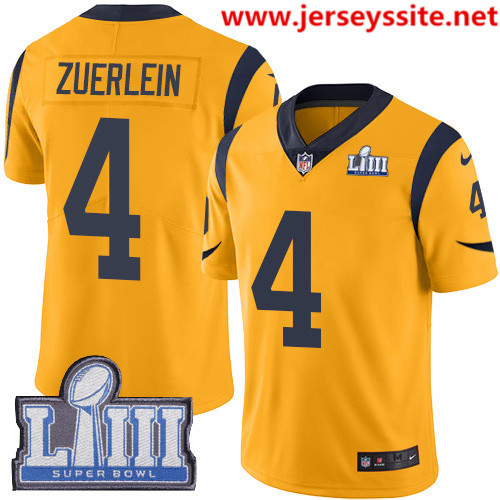 Nike Rams #4 Greg Zuerlein Gold Super Bowl LIII Bound Men's Stitched NFL Limited Rush Jersey