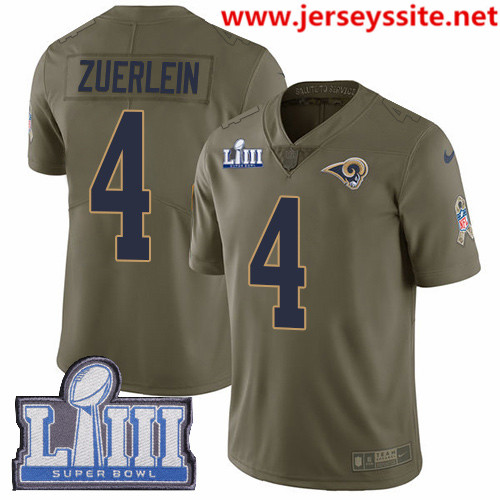 Nike Rams #4 Greg Zuerlein Olive Super Bowl LIII Bound Men's Stitched NFL Limited 2017 Salute To Service Jersey