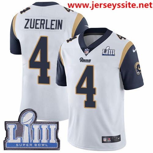 Nike Rams #4 Greg Zuerlein White Super Bowl LIII Bound Men's Stitched NFL Vapor Untouchable Limited Jersey