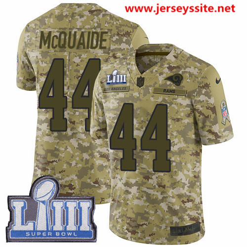 Nike Rams #44 Jacob McQuaide Camo Super Bowl LIII Bound Men's Stitched NFL Limited 2018 Salute To Service Jersey