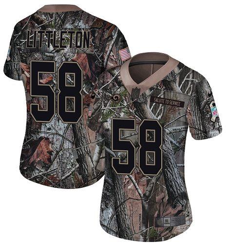 Nike Rams #58 Cory Littleton Camo Women's Stitched NFL Limited Rush Realtree Jersey