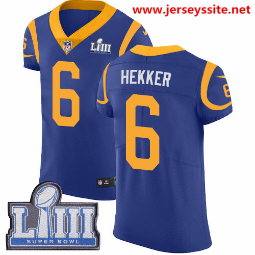 Nike Rams #6 Johnny Hekker Royal Blue Alternate Super Bowl LIII Bound Men's Stitched NFL Vapor Untouchable Elite Jersey
