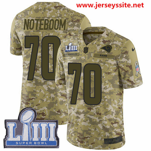 Nike Rams #70 Joseph Noteboom Camo Super Bowl LIII Bound Men's Stitched NFL Limited 2018 Salute To Service Jersey