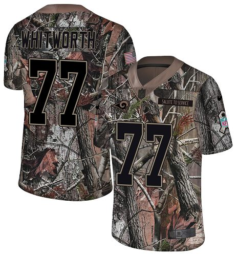 Nike Rams #77 Andrew Whitworth Camo Men's Stitched NFL Limited Rush Realtree Jersey